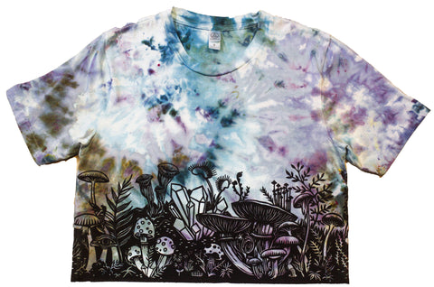 """Mushroom Garden"" Tie-Dyed Crop Top - Small"