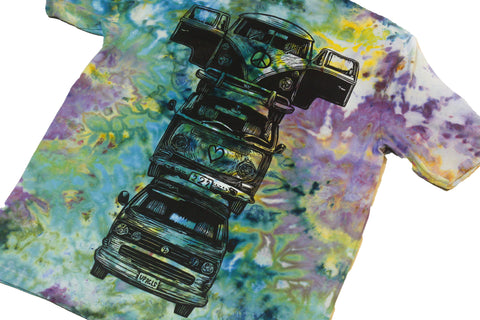 """Bus Totem"" Woodcut Tie-Dye - Medium"