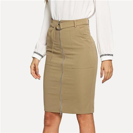Khaki Zip Up Pencil Skirt