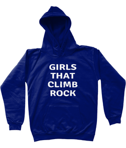 GIRLS THAT CLIMB ROCK - AGED 3-13 - kids' hoodie (white print on various colours)