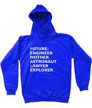 FUTURE FEMALE - AGED 3-13 YEARS - girls' hoodie (white print on various colours)