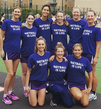 personalised netball t-shirt netball is life netball team hyde park netball club