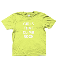 GIRLS THAT CLIMB ROCK - AGED 3-13 YEARS - girls' short sleeve t-shirt (mini she-shirt) (various colours)
