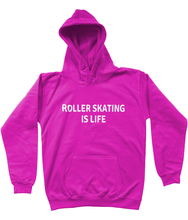 ROLLER SKATING IS LIFE - AGED 3-13 - kids' hoodie (white print on various colours)