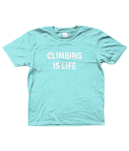 CLIMBING IS LIFE - AGED 3-13 - girls' short sleeve t-shirt (mini she-shirt) (various colours)