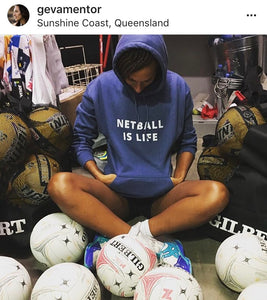 NETBALL IS LIFE - women's boyfriend fit hoodie (white print on various colours)