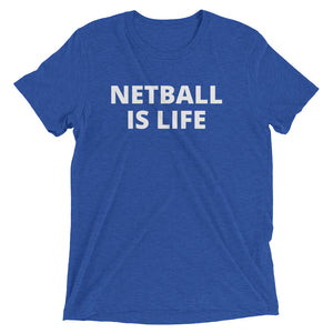 blue personalised netball t-shirt netball is life netball team hyde park netball club