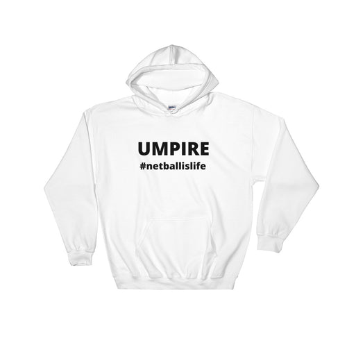 UMPIRING IS LIFE - women's boyfriend fit hoodie (black print on white)