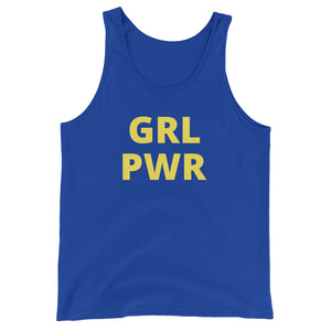 GRL PWR - women's boyfriend fit workout & gym top (black/royal blue/navy blue)