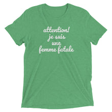 FEMME FATALE - women's short sleeve t-shirt (she-shirt) (white print on various colours)