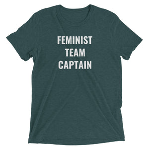FEMINIST TEAM CAPTAIN - women's short sleeve t-shirt (she-shirt) (white print on various colours)