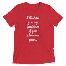 I'LL SHOW YOU MY FEMINISM - women's short sleeve t-shirt (she-shirt) (white print on various colours)