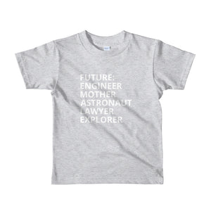 FUTURE FEMALE - AGED 2-6 YEARS - girls' short sleeve t-shirt (mini she-shirt) (various colours)