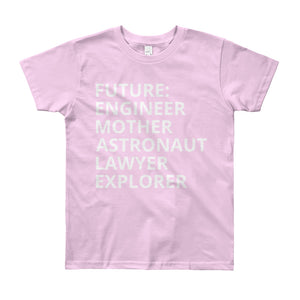 FUTURE FEMALE - AGED 8-12 YEARS - girls' short sleeve t-shirt (mini she-shirt) (various colours)