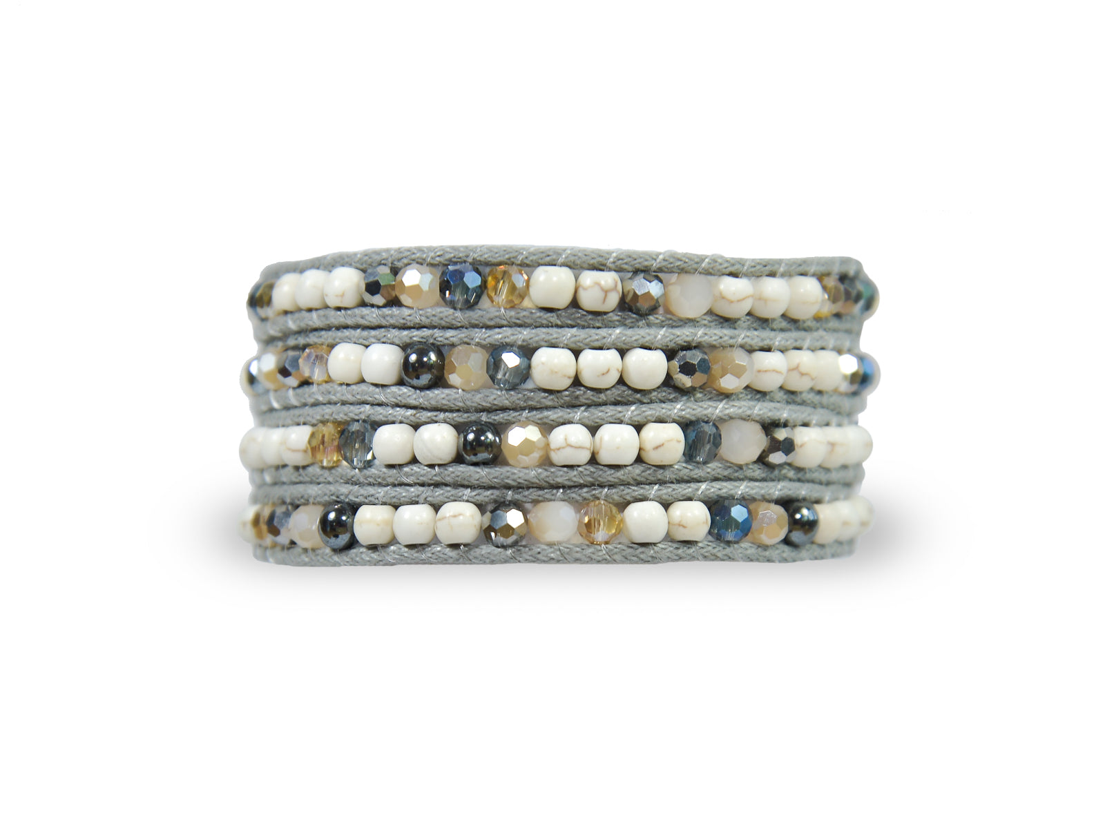 W4-013 Mixed Grey and White Crystal Bead 4 Rounds wrap bracelet