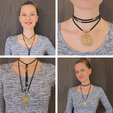 Load image into Gallery viewer, ☆Sri Yantra Choker Necklace ☆ Flower of Life Choker Necklace☆