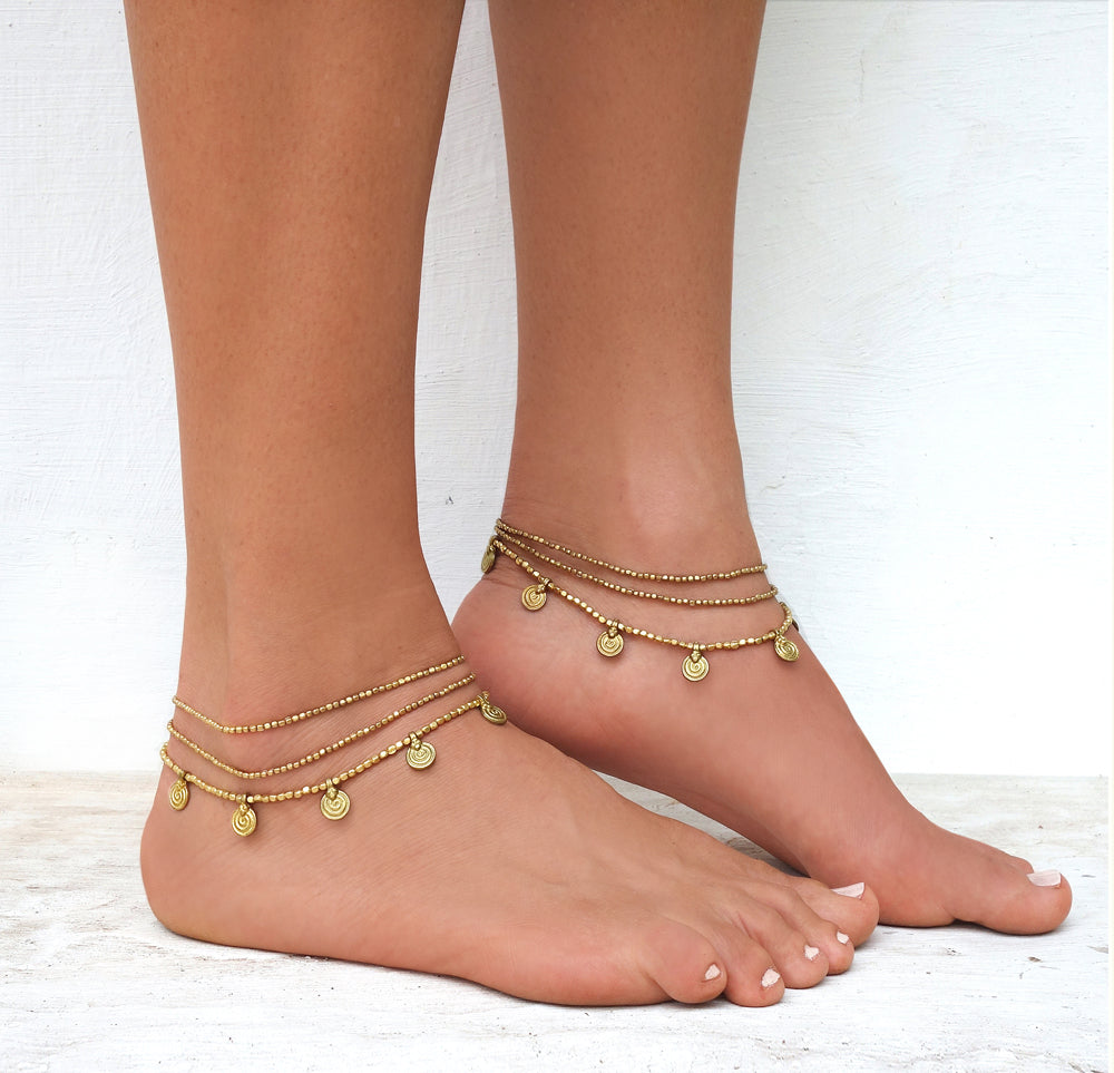 ☆Three Line Mandala Anklet☆ Brass☆