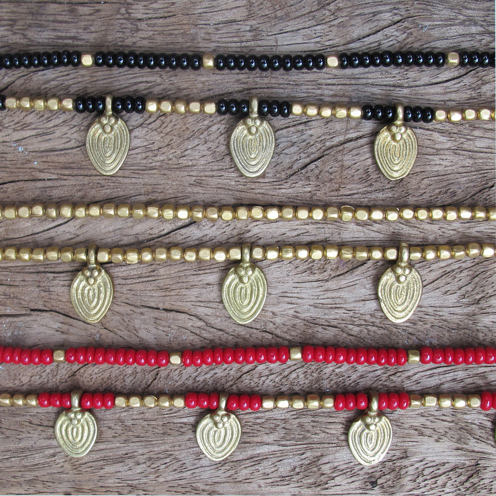☆Two Line Lotus Anklet☆ Black☆ Red☆