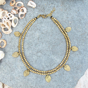 ☆Two Line Lotus Anklet☆ Brass☆