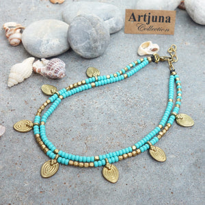 ☆Two Line Lotus Anklet☆ Turquoise☆ Green☆ White☆