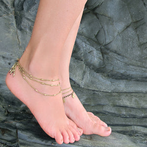 ☆Three Line Ponpon Anklet☆ Silver☆