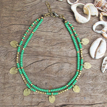 Load image into Gallery viewer, ☆Two Line Lotus Anklet☆ Turquoise☆ Green☆ White☆