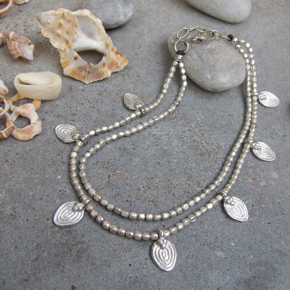 ☆Two Line Lotus Anklet☆ Silver☆