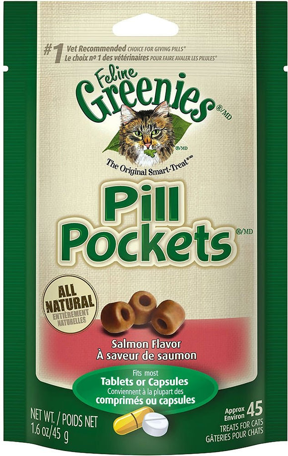 Greenies Pill Pockets Feline Salmon Flavor Cat Treats