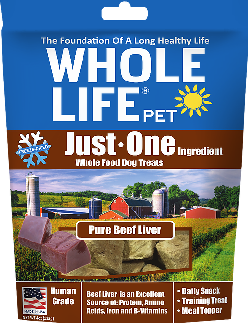 Whole Life Just One Grain Free Pure Beef Liver Freeze Dried Dog and Cat Treats