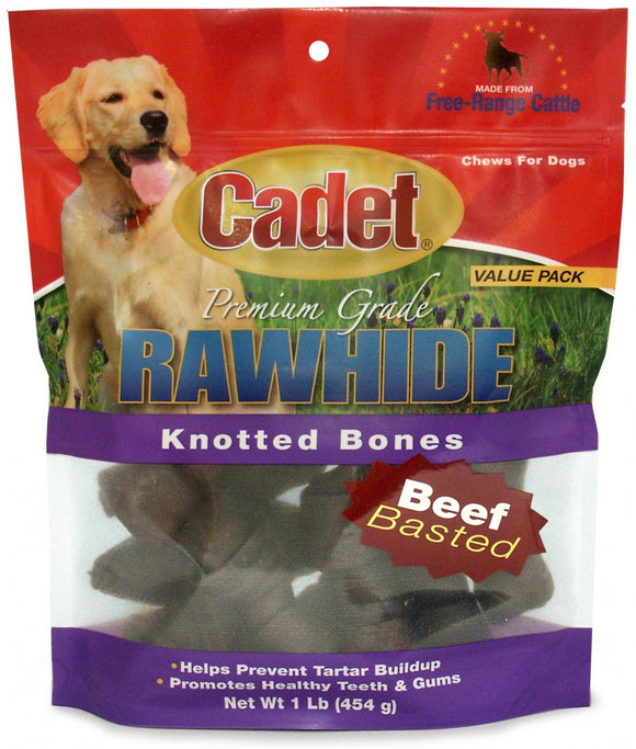 Cadet Rawhide Beef Flavor Knotted Bones for Dogs