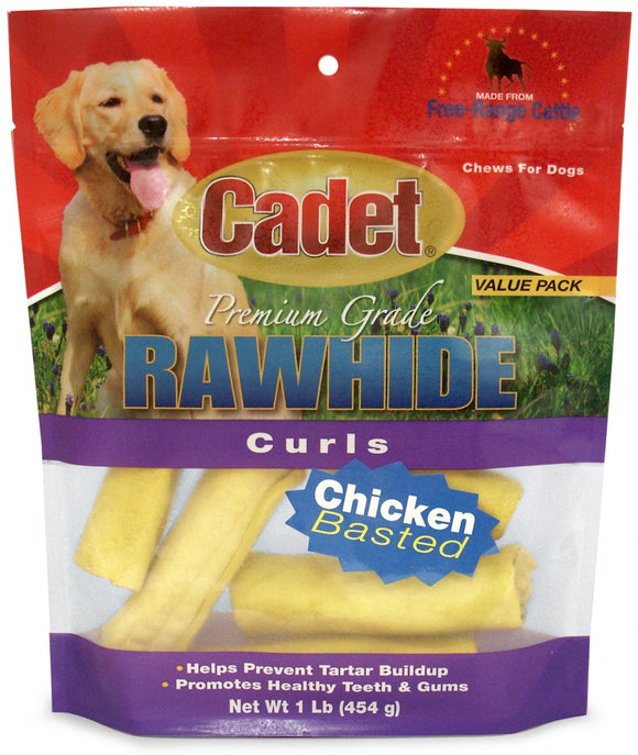 Cadet Rawhide Chicken Flavor Curls for Dogs