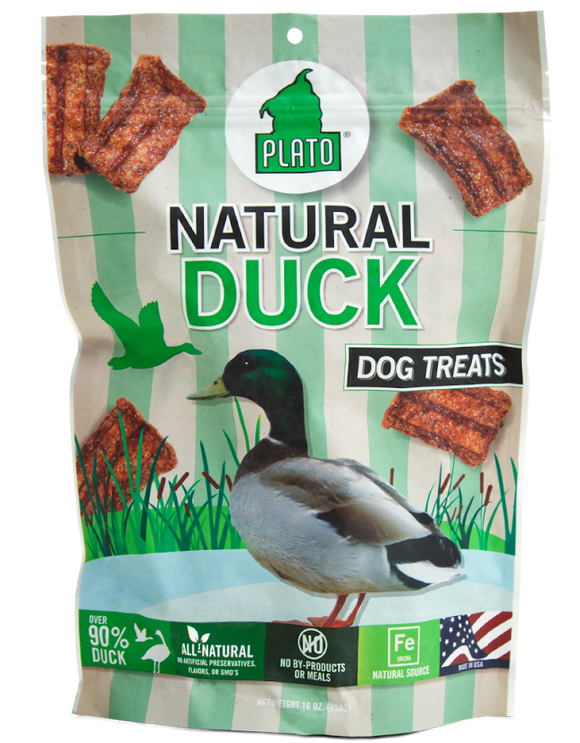 Plato All Natural Duck Strips Dog Treats