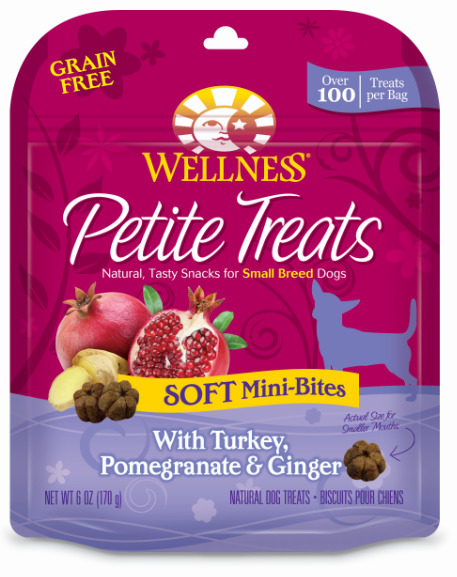 Wellness Petite Treats Grain Free Natural Soft Mini-Bites Turkey, Pomegranate and Ginger Recipe Small Dog Treats