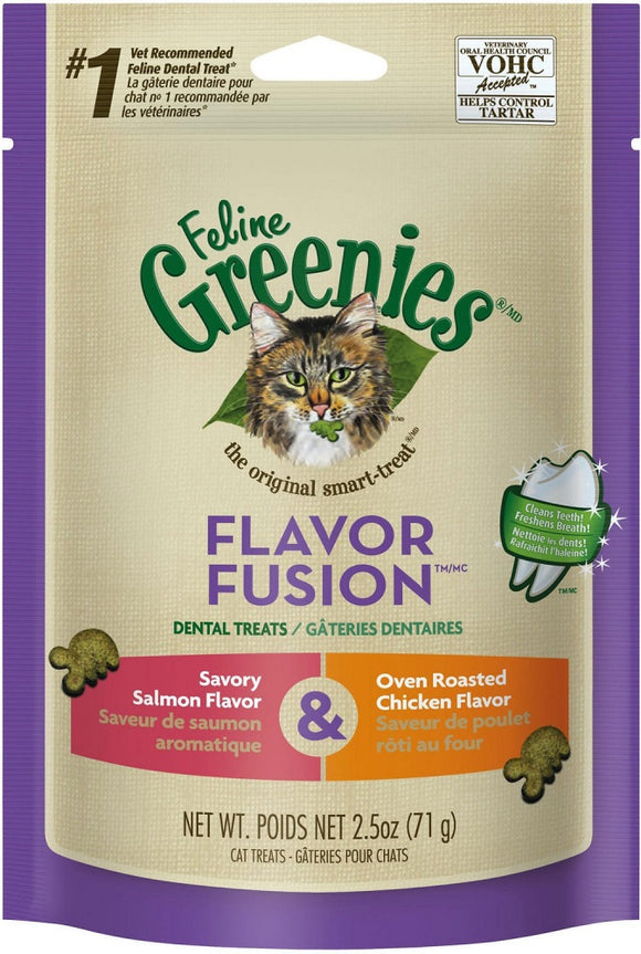 Greenies Feline Dental Treats Flavor Fusion Salmon and Chicken Flavor Cat Treats