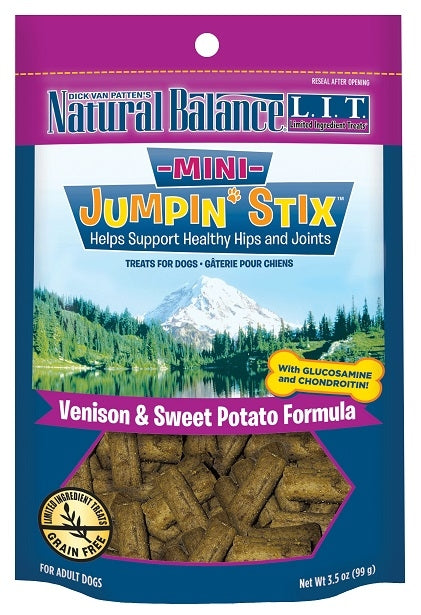 Natural Balance L.I.T. Limited Ingredient Treats Mini Jumpin' Stix Venison and Sweet Potato Formula Dog Treats