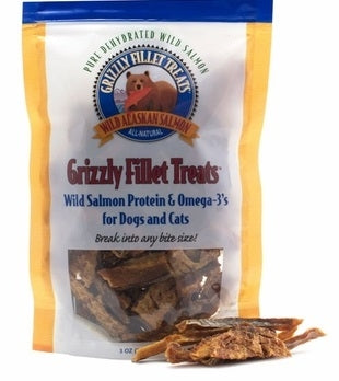 Grizzly Pure Dehydrated Wild Salmon Fillet Treats for Dogs and Cats