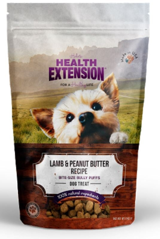 Health Extension Bully Puffs Lamb and Peanut Butter Dog Treats