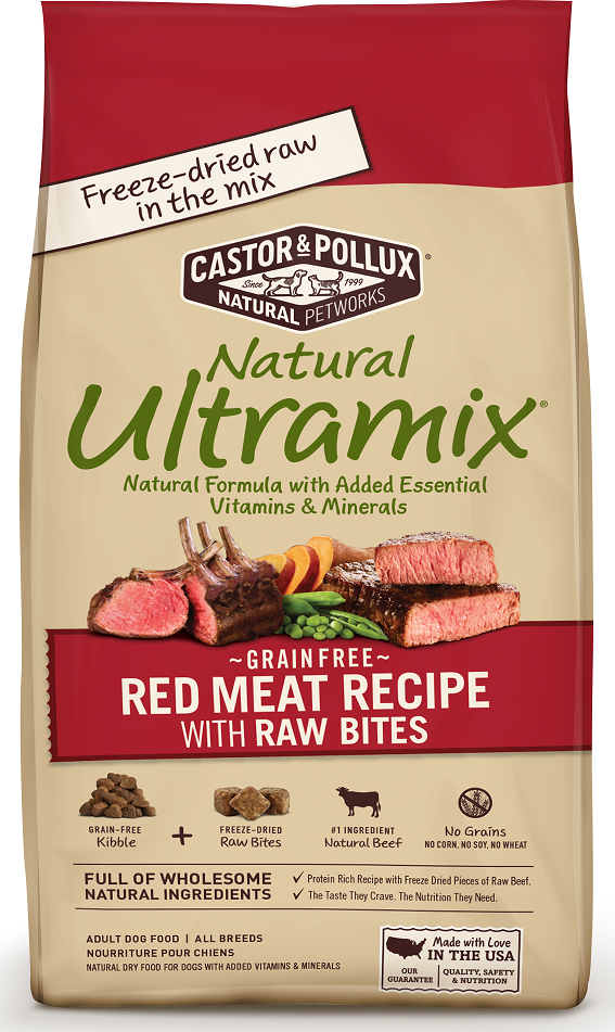 Castor and Pollux Natural Ultramix Grain Free Adult Red Meat Recipe with Raw Bites Dry Dog Food