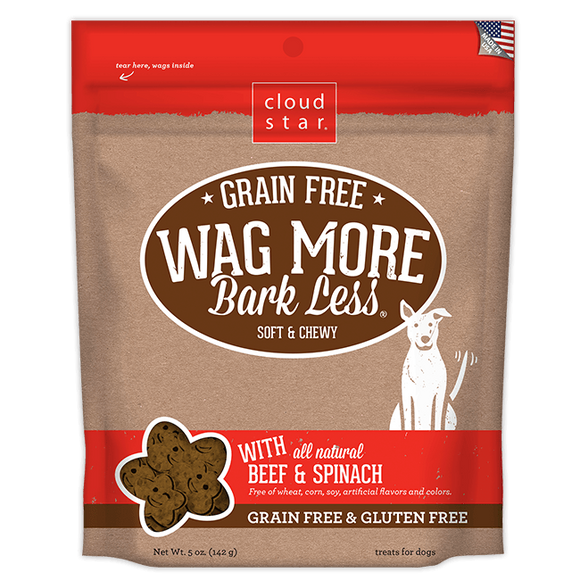 Cloud Star Wag More Bark Less Soft and Chewy Grain Free Beef and Spinach Dog Treats