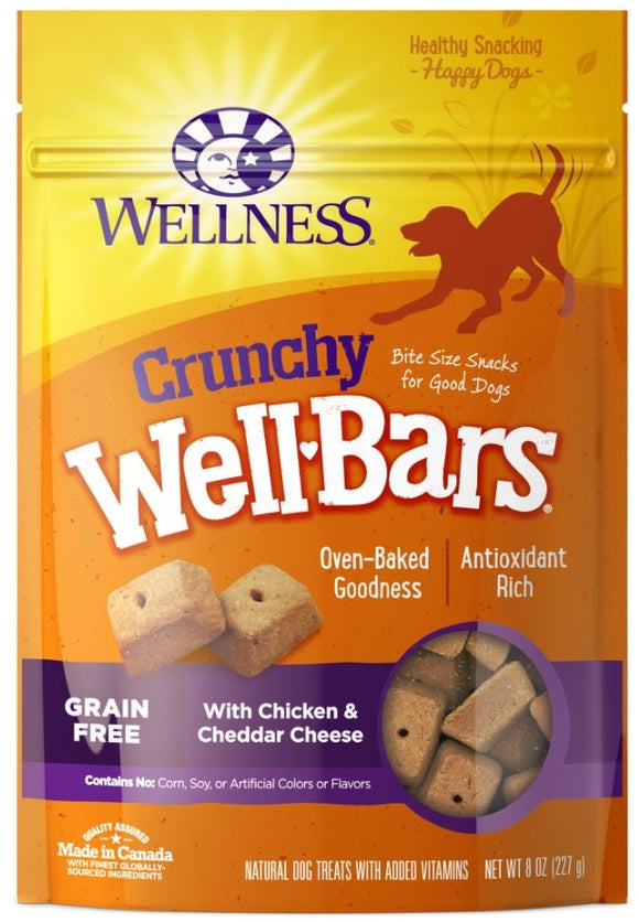 Wellness Natural Grain Free Wellbars Crunchy Chicken and Cheddar Recipe Dog Treats