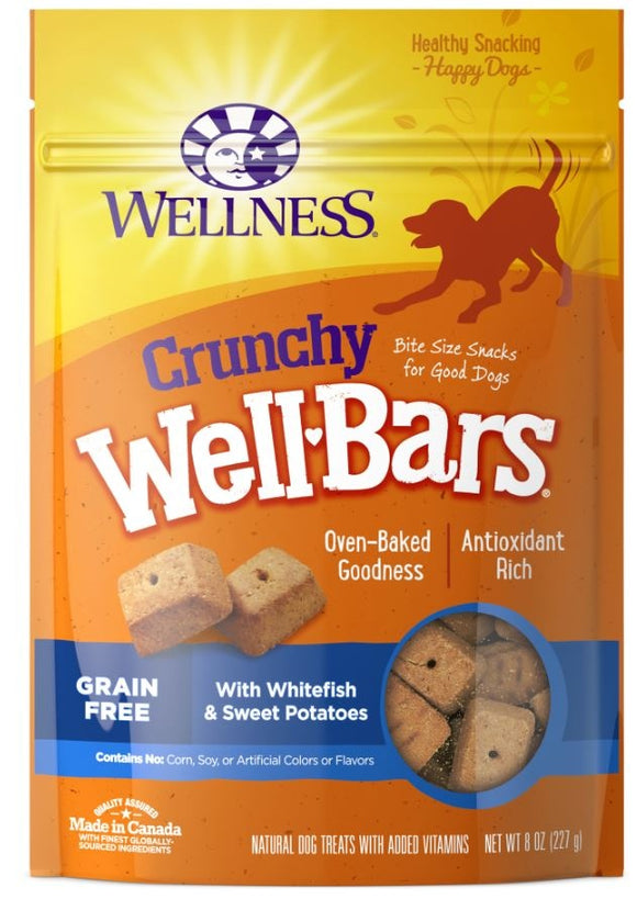 Wellness Natural Grain Free Wellbars Crunchy Whitefish and Sweet Potato Recipe Dog Treats