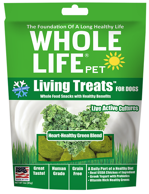 Whole Life Living Treats Grain Free Heart-Healthy Greens Blend Freeze Dried Dog Treats