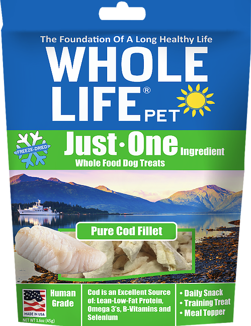 Whole Life Just One Grain Free Pure Cod Fillet Freeze Dried Dog Treats