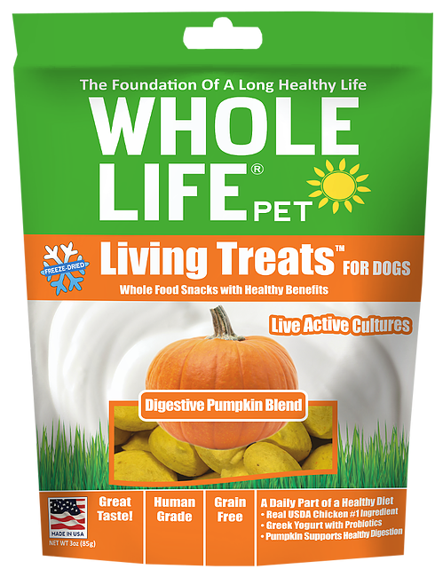 Whole Life Living Treats Grain Free Digestive Pumpkin Blend Freeze Dried Dog Treats