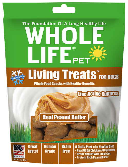 Whole Life Living Treats Grain Free Real Peanut Butter Blend Freeze Dried Dog Treats