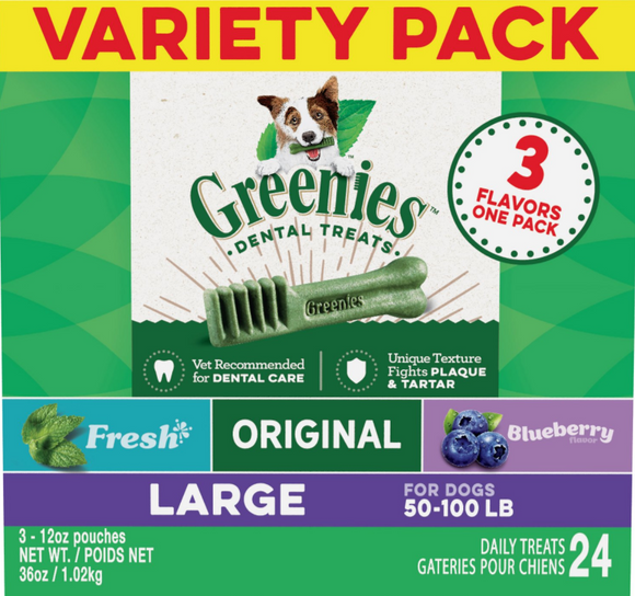 Greenies Large Three Flavor Variety Pack Dental Dog Treats