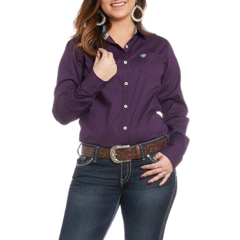 Ariat Womens Kirby Stretch Shirt Purple Pennant
