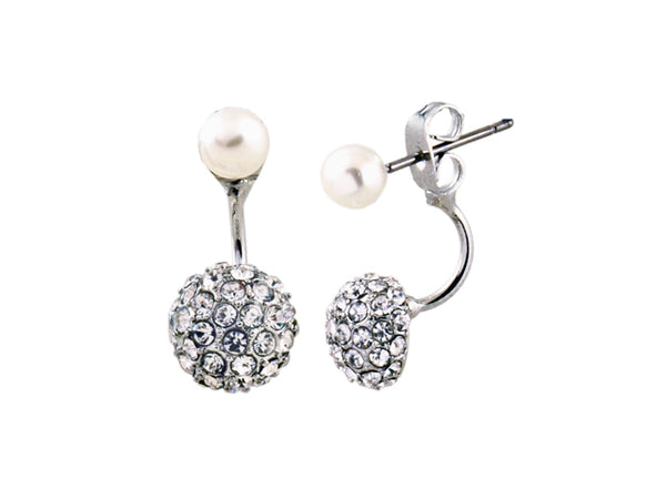 Sensation Pearl Double Rhodium Earring