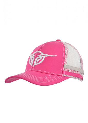 Bullzye Racing Stripes Pink and White Cap