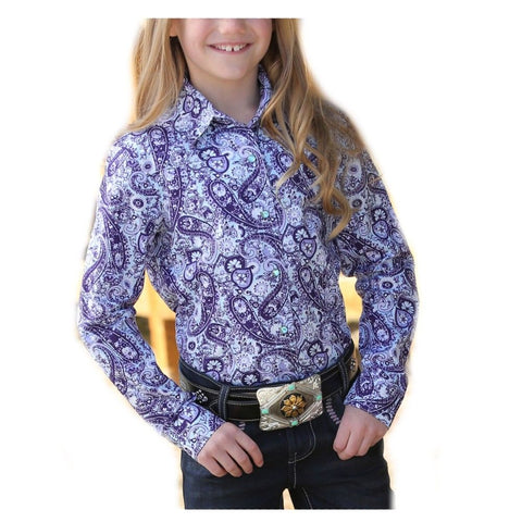 Cruel Girl's Purple Paisley Snap Front Western Shirt